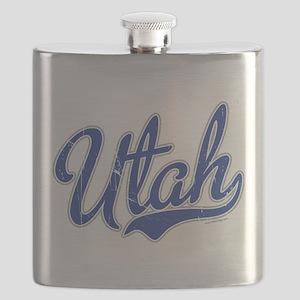 Utah State Script Font Vintage Flask