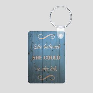 SHE BELIEVED Aluminum Photo Keychain
