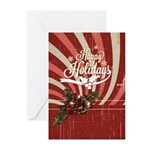 Rustic Holly Vintage Greeting Cards