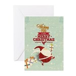 Tiny Santa With Presents Greeting Cards