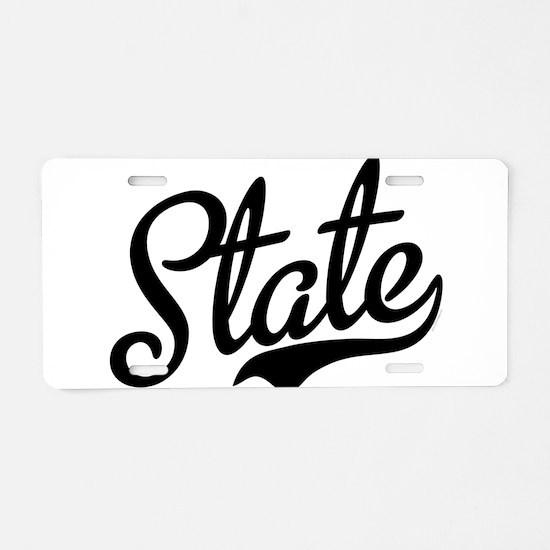 State Script Black Aluminum License Plate