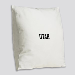 Utah Jersey Black Burlap Throw Pillow