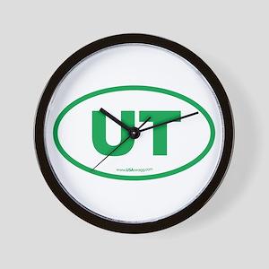 Utah UT Euro Oval GREEN Wall Clock