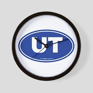 Utah UT Euro Oval BLUE Wall Clock