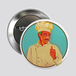 """Chef With Mustache Thumbs Up Circle WPA 2.25"""" Butt"""