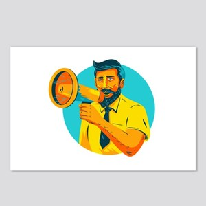 Bearded Hipster Man With Megaphone WPA Postcards (