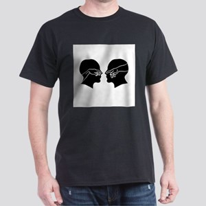 Silhouette of male faces with hands showin T-Shirt