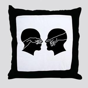Silhouette of male faces with hands s Throw Pillow