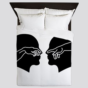 Silhouette of male faces with hands sh Queen Duvet