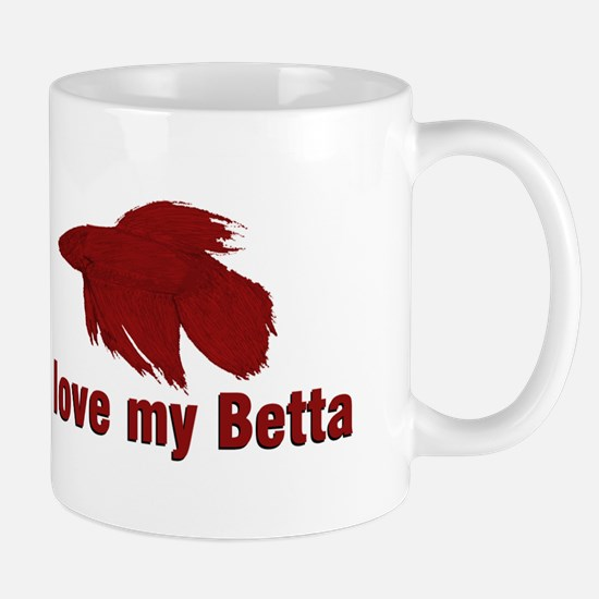 I Love My Betta Large Mugs