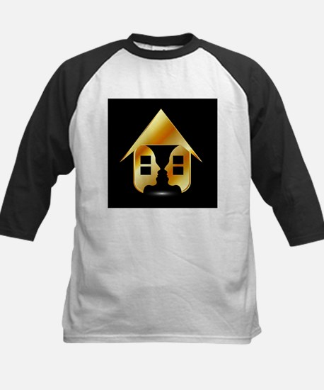 Golden house with windows and peop Baseball Jersey