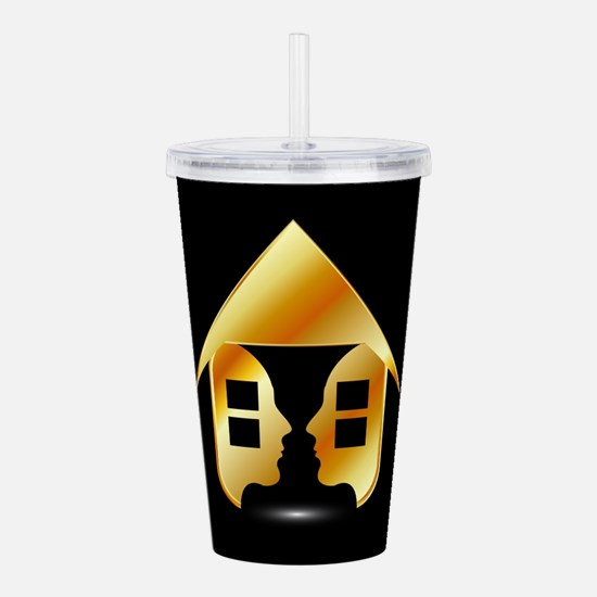 Golden house with wind Acrylic Double-wall Tumbler