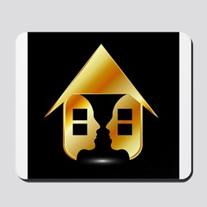 Golden house with windows and people Mousepad