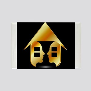 Golden house with windows and people Magnets