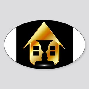 Golden house with windows and people Sticker