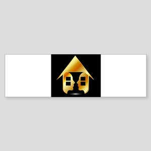Golden house with windows and peopl Bumper Sticker