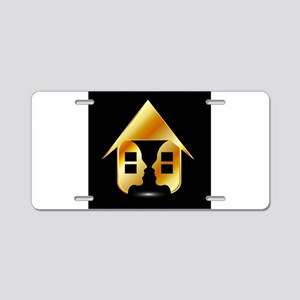 Golden house with windows a Aluminum License Plate