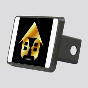 Golden house with windows Rectangular Hitch Cover