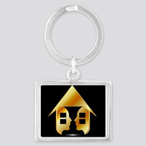 Golden house with windows and people Keychains