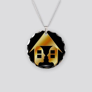 Golden house with windows an Necklace Circle Charm