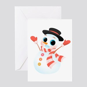 Excited Cute Snowman Greeting Cards