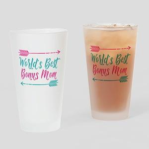 Worlds Best Bonus Mom Drinking Glass