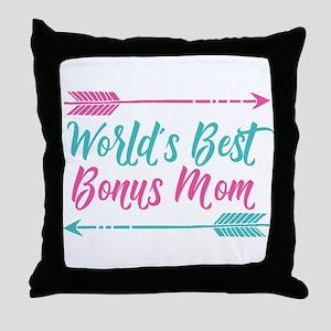 Worlds Best Bonus Mom Throw Pillow