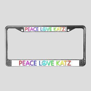 Peace Love Katz License Plate Frame