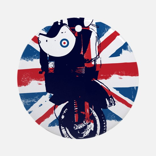 Union Jack Scooter Round Ornament