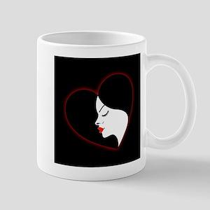 A beautiful girl in a red glowing heart Mugs