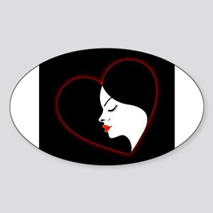 A beautiful girl in a red glowing heart Sticker