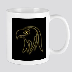 Glowing eagle on black Mugs