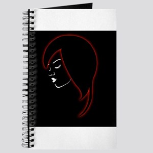A beautiful girl in a red glowing hair Journal