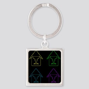 Glowing house with face forming a vase Keychains