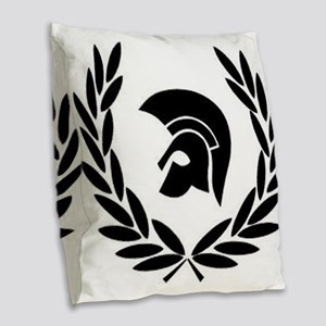 Trojan Laurel Leaf Burlap Throw Pillow