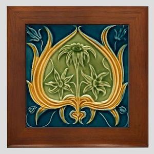 Framed Tile With Art Nouveau Floral Pattern