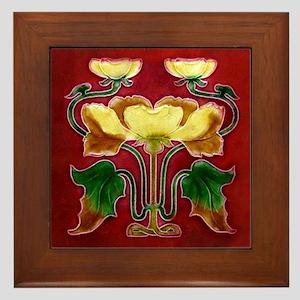 Framed Tile With Art Nouveau Autumn Floral Form