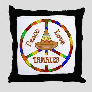 Peace Love Tamales Throw Pillow