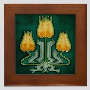 Framed Tile With Art Nouveau Yellow Tulips