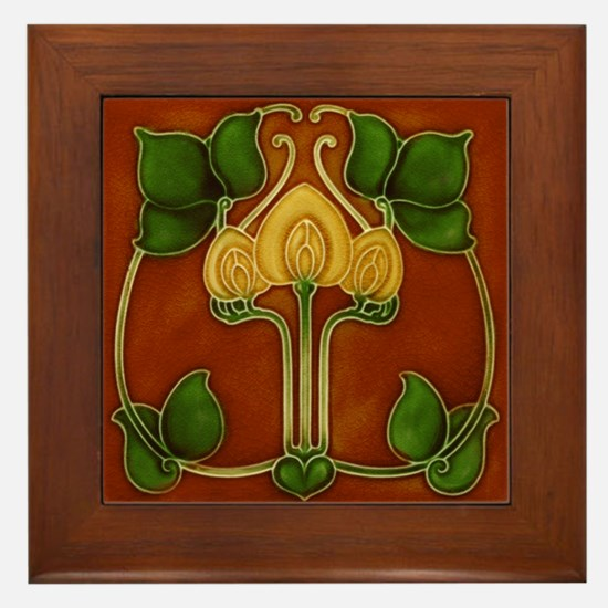 Framed Tile With Art Nouveau Yellow Floral Form