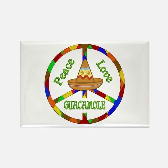 Peace Love Guacamole Rectangle Magnet