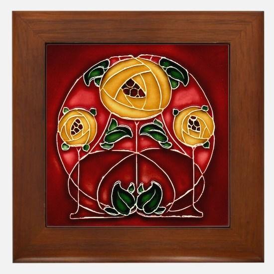 Framed Tile With Art Nouveau Mackintosh Bouquet
