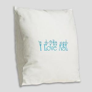 I love ASL Burlap Throw Pillow