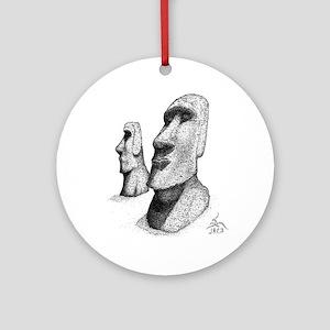 10x10_apparel_moai Round Ornament