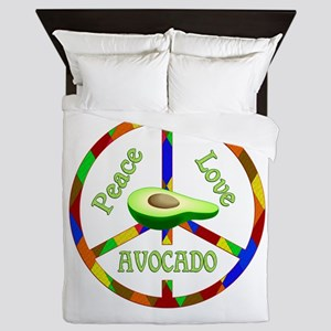 Peace Love Avocado Queen Duvet