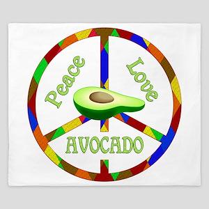 Peace Love Avocado King Duvet