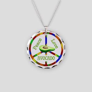 Peace Love Avocado Necklace Circle Charm
