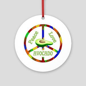 Peace Love Avocado Round Ornament