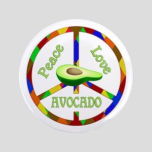 Peace Love Avocado Button