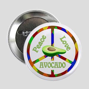 """Peace Love Avocado 2.25"""" Button"""